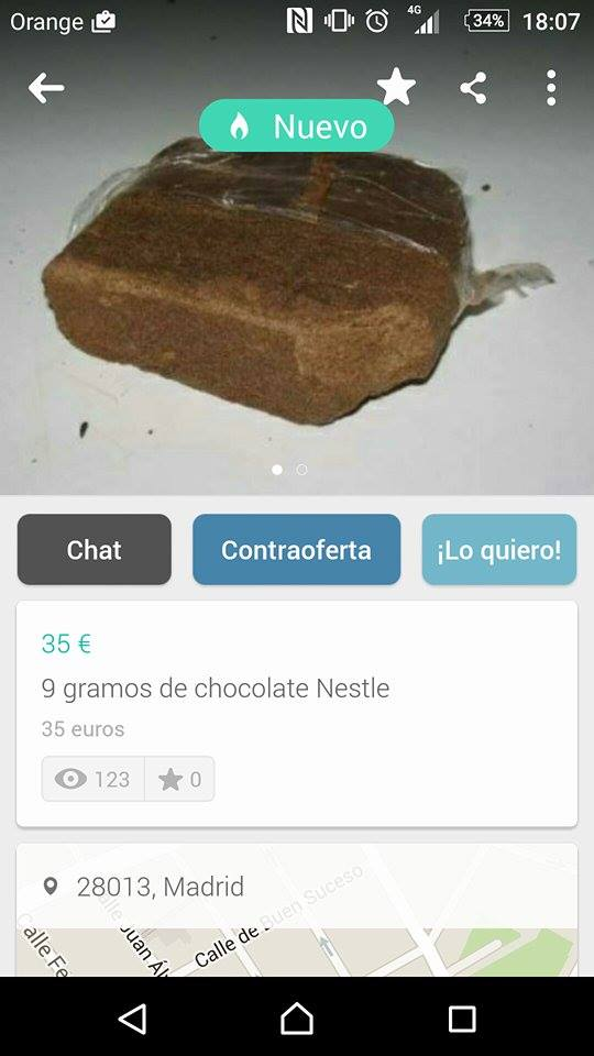 9 gramos de chocolate Nestle