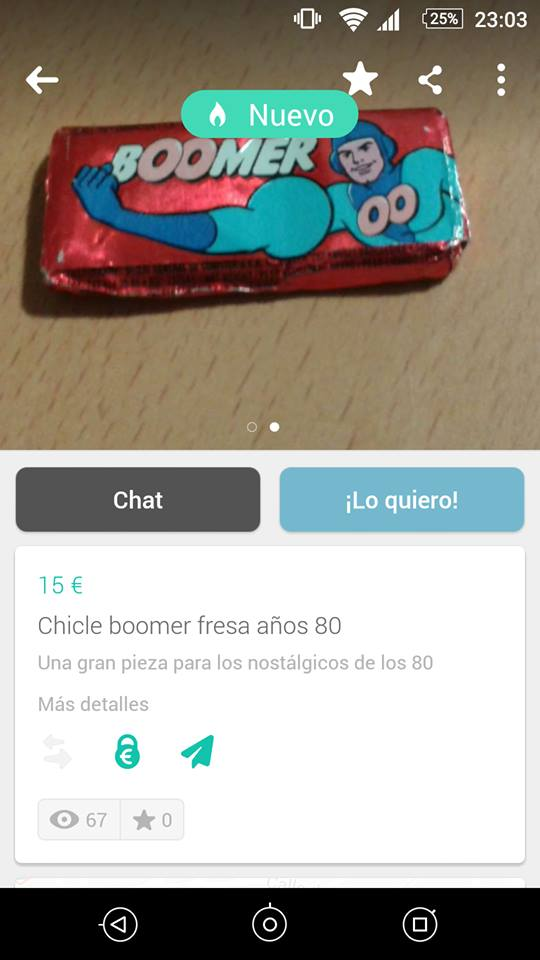 Chicle boomer fresa años 80