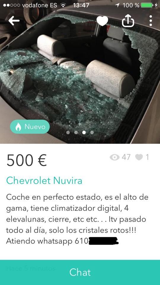 Chevrolet nuvira cristales rotos
