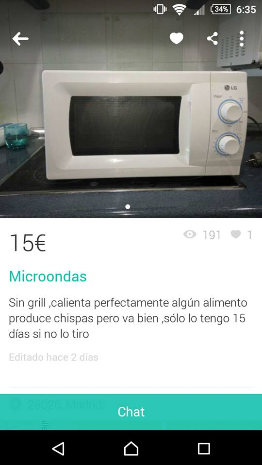 Microondas sin grill chispas