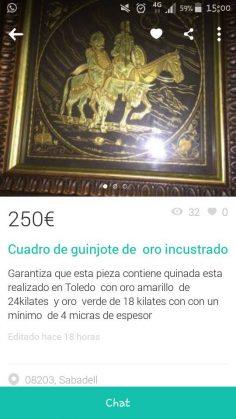 """CUADRO DE """"GUINJOTE"""" DE ORO"""