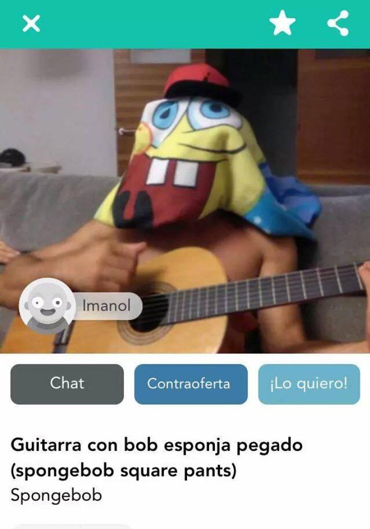 GUITARRA CON BOB ESPONJA PEGADO