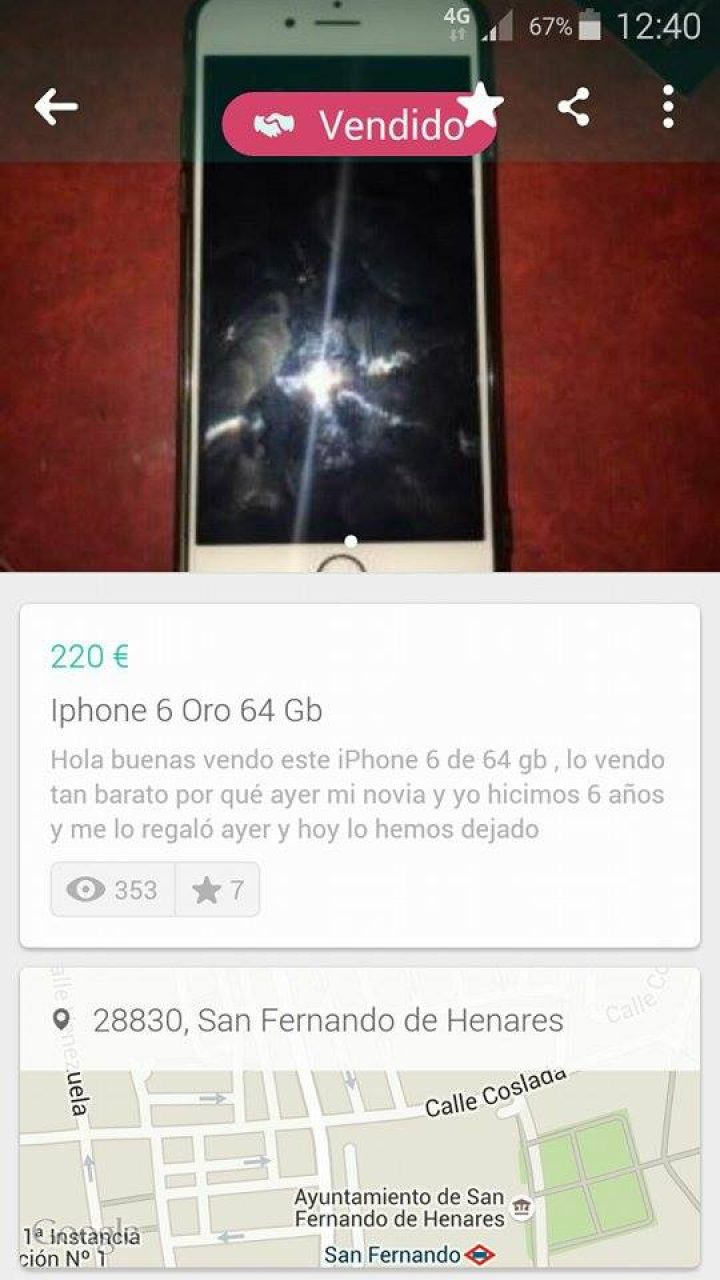 IPHONE 6 ORO 64 GB