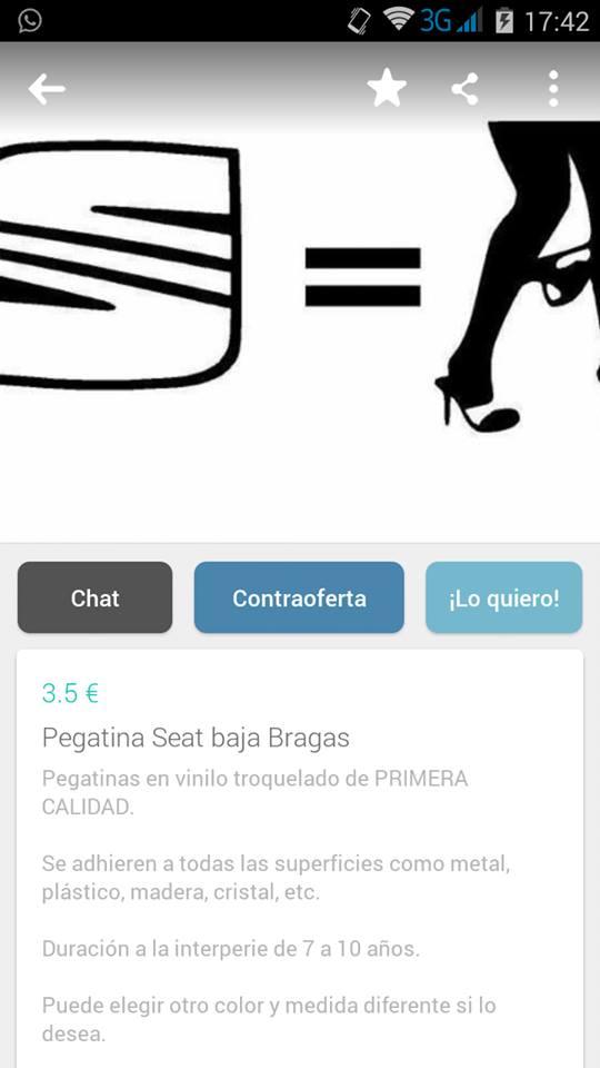 Pegatina Seat Baja Bragas