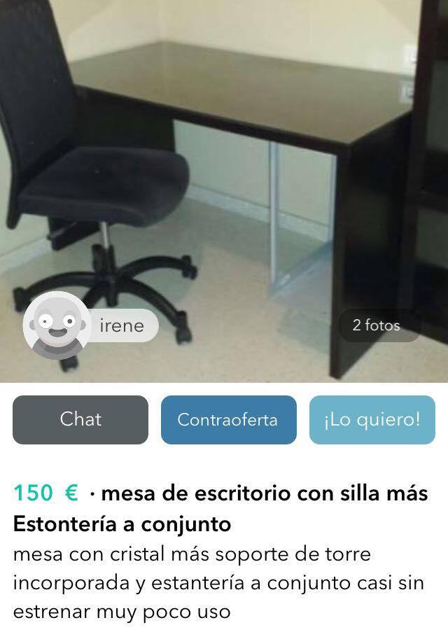 Mesa escritorio con silla estontería