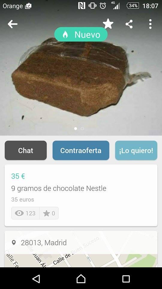 9 gramos de chocolate Nestle