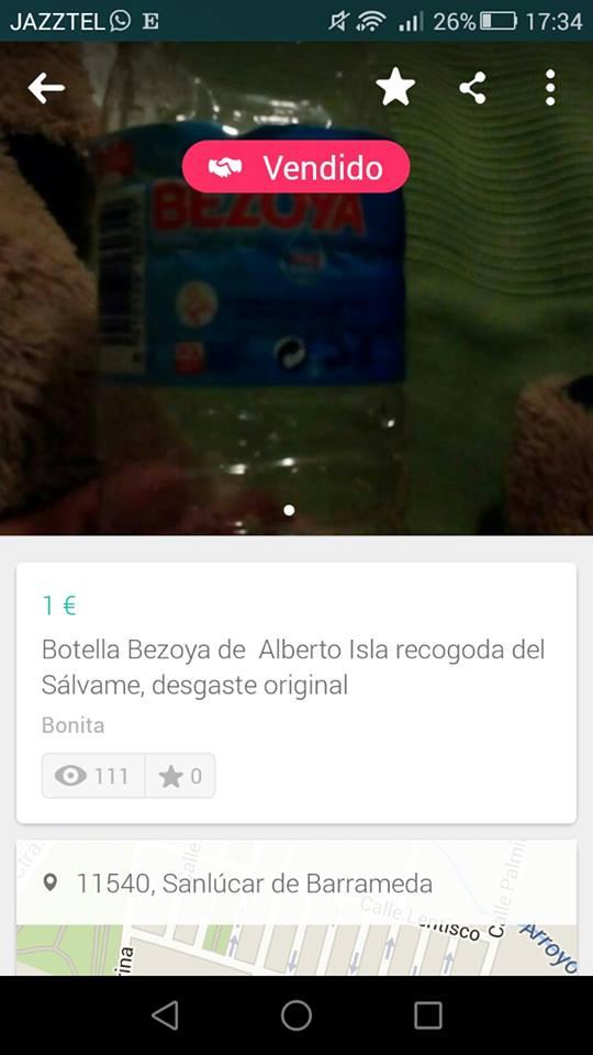 Botella Bezoya de Alberto Isla