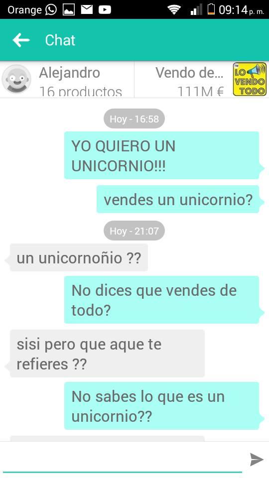 Chat Lo vendo todo unicornio 1