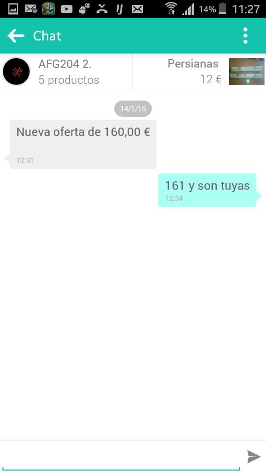 Chat nueva oferta de 160€