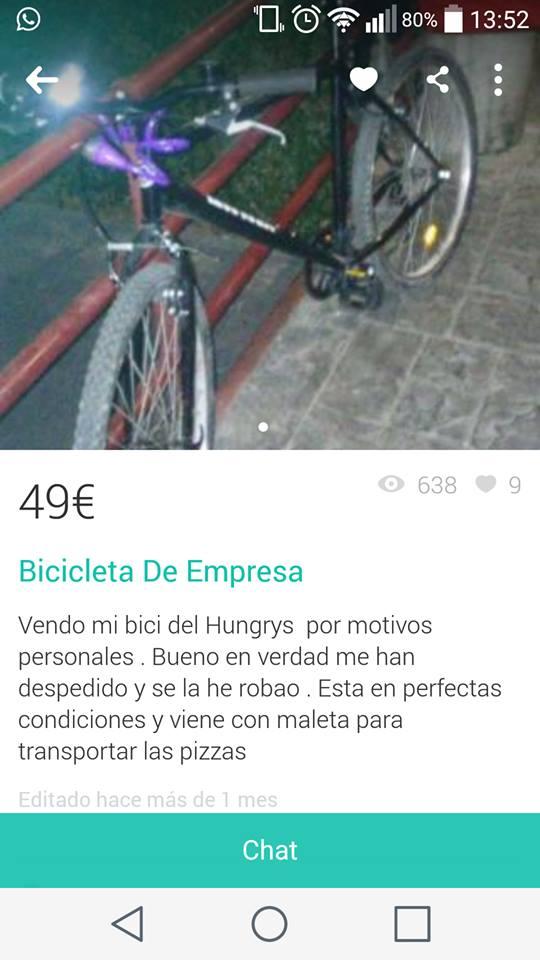 Bicicleta de empresa robada