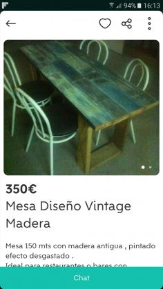 MESA DE MADERA DISEÑO VINTAGE