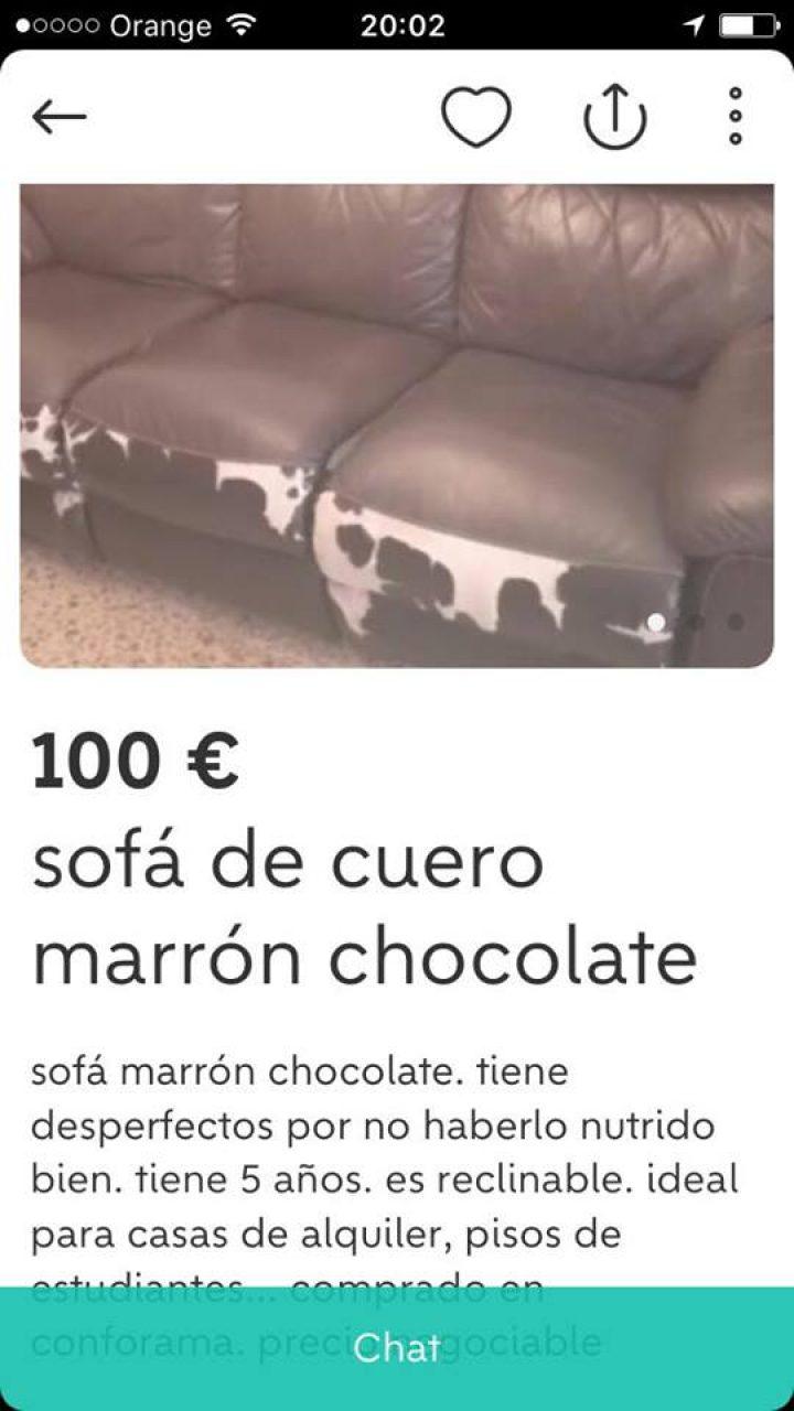 SOFÁ DE CUERO MARRÓN CHOCOLATE