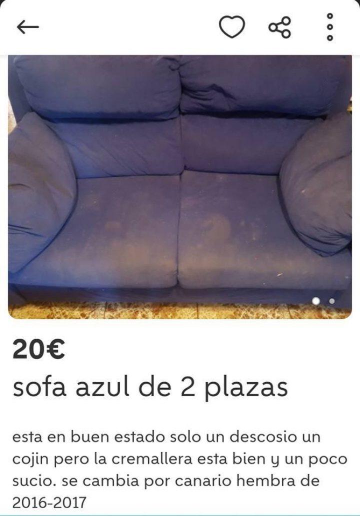 SOFÁ AZUL DE 2 PLAZAS